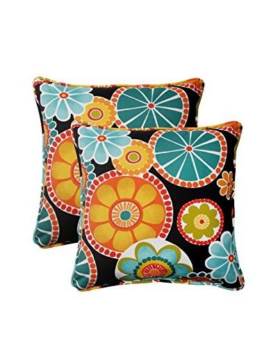 Pillow Perfect Set of 2 Rondo Black Indoor/Outdoor Throw Pillows