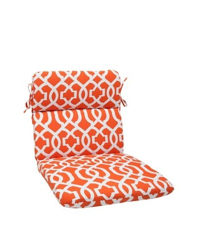 Pillow Perfect Outdoor New Geo Rounded Corner Chair Cushion, Orange