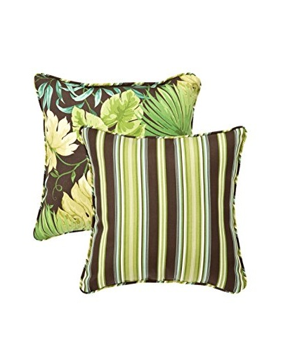 Set of 2 Tropique Lyndhurst Green Indoor/Outdoor Throw Pillows