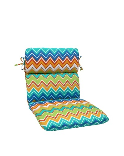 Pillow Perfect Outdoor Zig Zag Rounded Corner Chair Cushion, Orangeaide