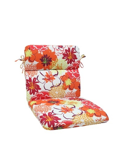 Pillow Perfect Outdoor Floral Fantasy Rounded Corner Chair Cushion, Raspberry
