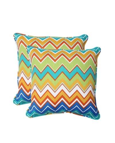Pillow Perfect Set of 2 Outdoor Zig Zag Throw Pillows, Orangeaide