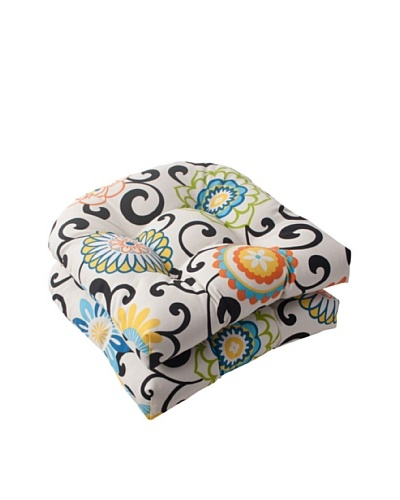 Pillow Perfect Set of 2 Indoor/Outdoor Pom Pom Play Lagoon Wicker Seat Cushions, Lagoon, Black/Blue