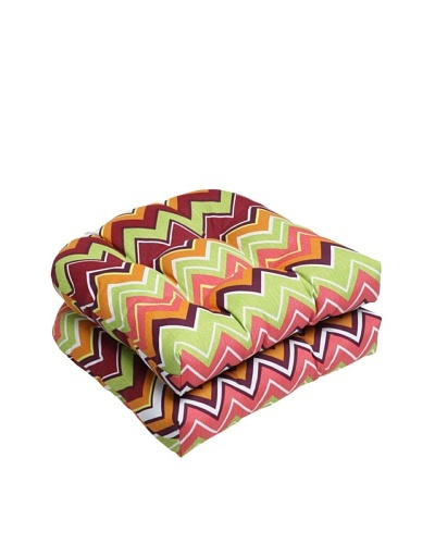Pillow Perfect Set of 2 Outdoor Zig Zag Wicker Seat Cushions, Raspberry