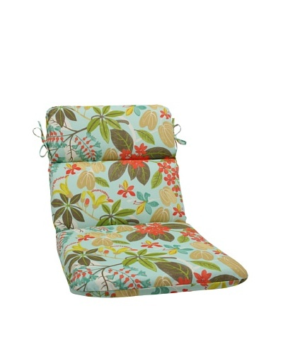 Pillow Perfect Outdoor Fancy a Floral Caribbean Rounded Corner Chair Cushion, Blue/Brown