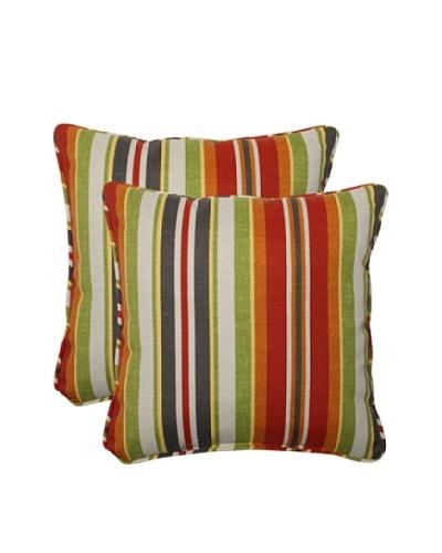 Pillow Perfect Set of 2 Outdoor Roxen Stripe Throw Pillows, Citrus