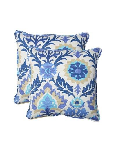 Pillow Perfect Set of 2 Outdoor Santa Maria Throw Pillows, Azure