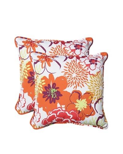 Pillow Perfect Set of 2 Outdoor Floral Fantasy Throw Pillows, Raspberry