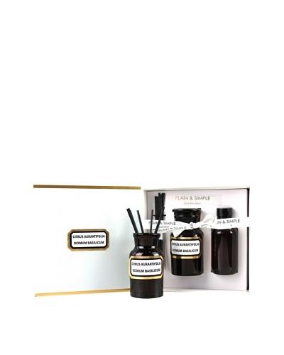 Plain & Simple Vintage Amber Glass Lime Basil Mandarin Perfumed Diffuser Set
