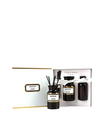 Plain & Simple Vintage Amber Glass Sandalwood Perfumed Diffuser Set