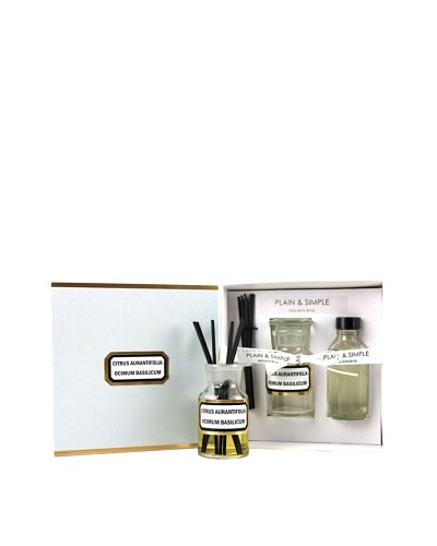Plain & Simple Vintage Clear Glass Lime Basil Mandarin Perfumed Diffuser Set