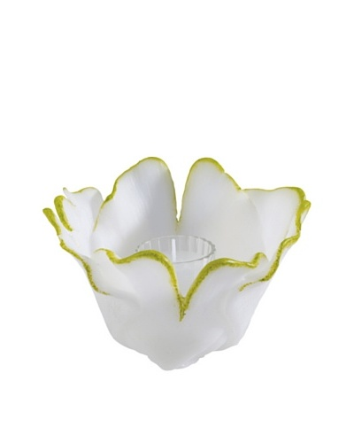 Point a la Ligne Small Gingko Floral Glass Hurricane, Green/White