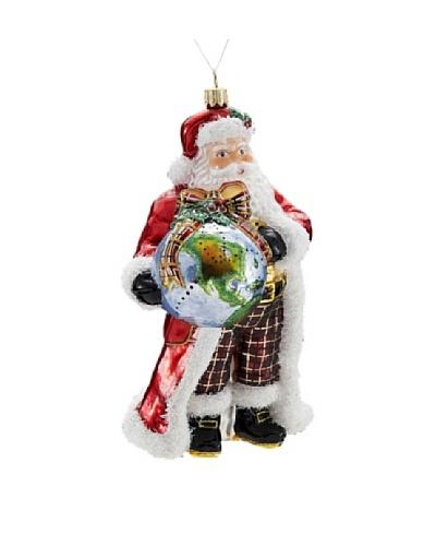 "Kurt Adler 7"" Polonaise Santa with Globe Ornament"