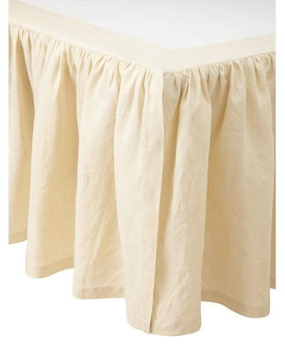 Pom Pom at Home Linen Gathered Crib Bedskirt, Beige, 18""