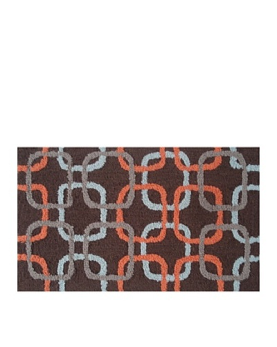 Pop Accents Squared Rug [Sky/Orange/Brown]