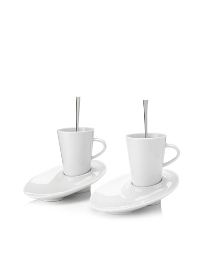 Pordamsa Set of 2 Angled Coffee Cup & Saucers