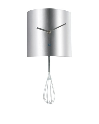 Present Time Brushed Steel Whisk Pendulum Wall Clock