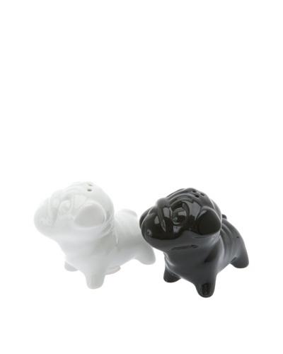Present Time Ceramic Mops Dogs Salt & Pepper Set, Black/White