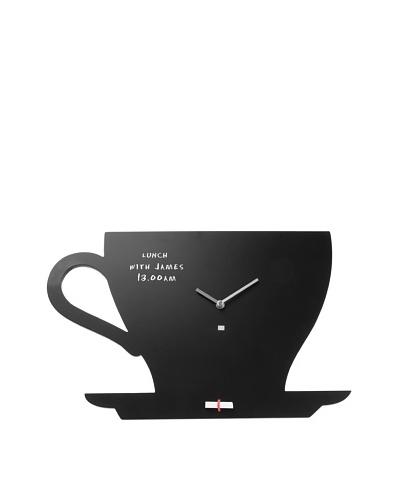 Present Time Cup of Tea Silhouette Blackboard Wall Clock