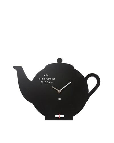 Present Time Teapot Silhouette Blackboard Wall Clock