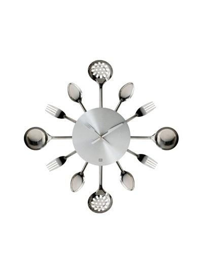 Present Time Silverware Steel Utensils Wall Clock