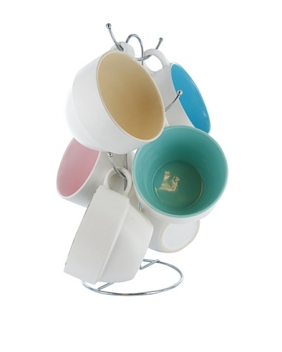 Present Time Set of 6 Sweet & Spicy Café Latte Cup Set with Stand