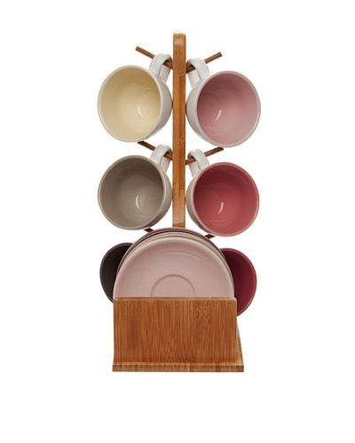 Present Time Set of 6 Cappuccino Cup Set with Bamboo Stand, Pink