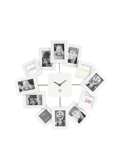 Present Time 12-Photo Family Time Wall Clock