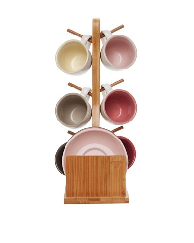 Present Time Set of 6 Espresso Cup Set with Bamboo Stand