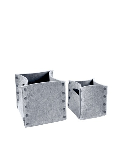 Present Time Set of 2 Storage Baskets, Felted Grey