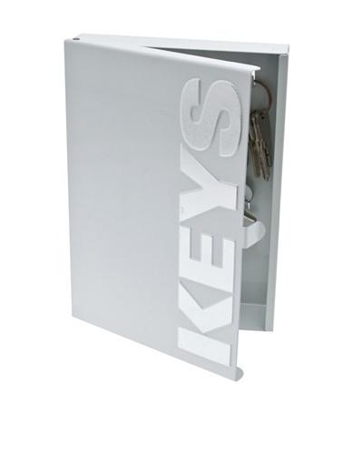 Present Time Typographic Metal Key Box, Silver