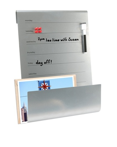 Present Time Memo Board & Holder with Marker, Silver