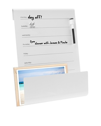 Present Time Memo Board & Holder with Marker, White