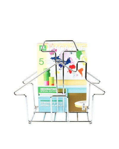 Present Time Home Sweet Home Magazine Rack, Chrome