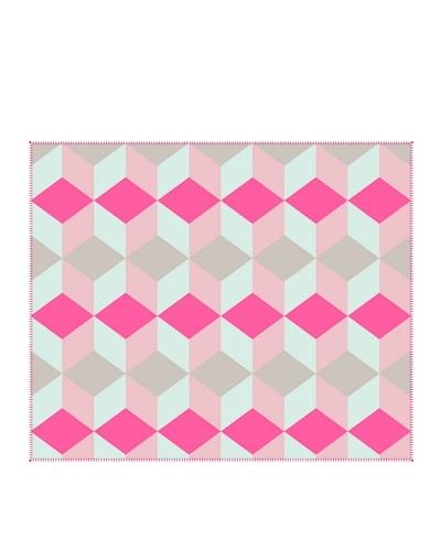 Present Time Block Fleece Throw Blanket, Pink