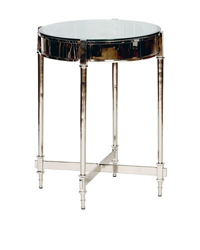 Prima Design Source Beveled Glass-Top Side Table, Nickel