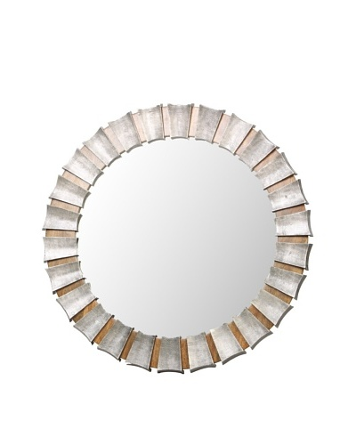 Prima Design Source Round Mirror with Concave Wedges, Metallic