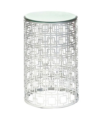 Prima Design Source Round Accent Table with Pierced Geometric Pattern, Nickel