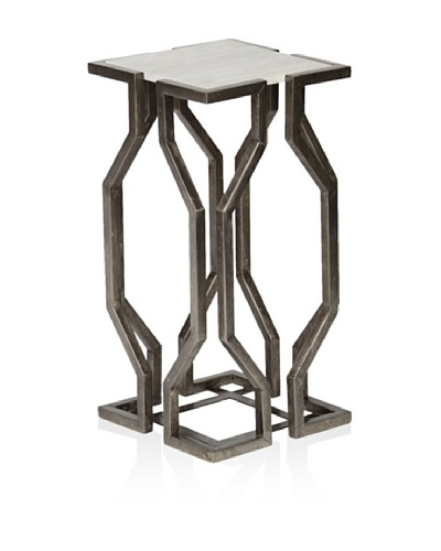 Prima Design Source Open Geometric Form Accent Table, Pewter