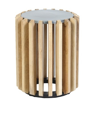 Prima Design Source Wooden Plank Drum Table with Metal Top, Natural