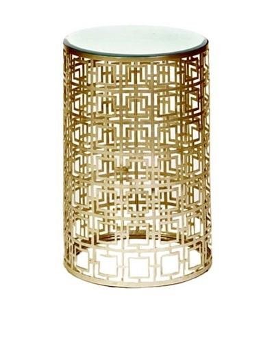 Prima Design Source Round Accent Table with Pierced Geometric Pattern, Antique Brass