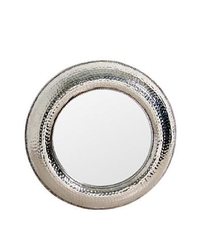 Prima Design Source Round Hammered Mirror, Silver