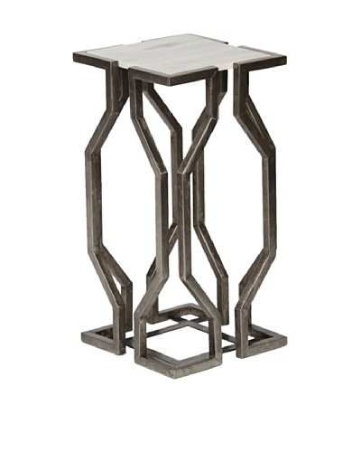 Prima Design Source Geometric Accent Table with Granite Top, Antique Pewter/White