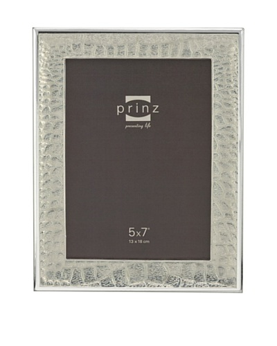 """Prinz Capri 5"""" x 7"""" Enameled Metal Photo Frame, Silver"""