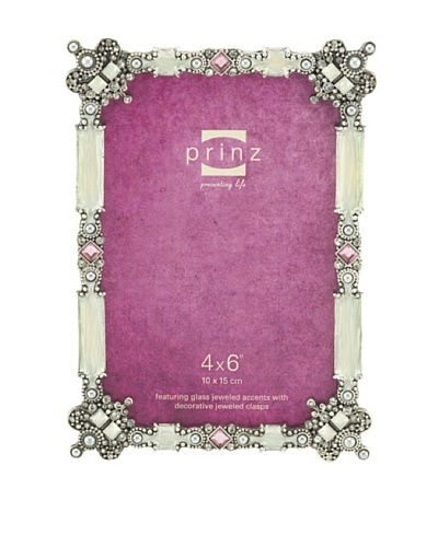 Prinz Trina Metal Jeweled Frame for 4 by 6-Inch Photo, Antique Silver