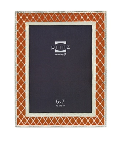 Prinz Deville 5 x 7 Enameled Metal Photo Frame, Orange