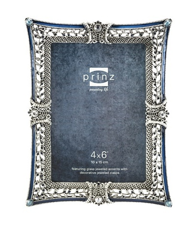 Prinz Bernadette Metal Jeweled Frame for 4 by 6-Inch Photo, Antique Silver