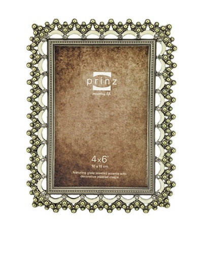 Prinz Greta 4 x 6 Metal Jeweled Photo Frame, Antique Gold