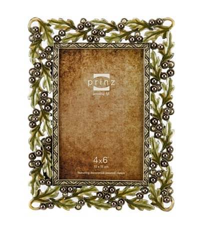 Prinz Margot Metal Jeweled Frame for 4 by 6-Inch Photo, Antique Gold