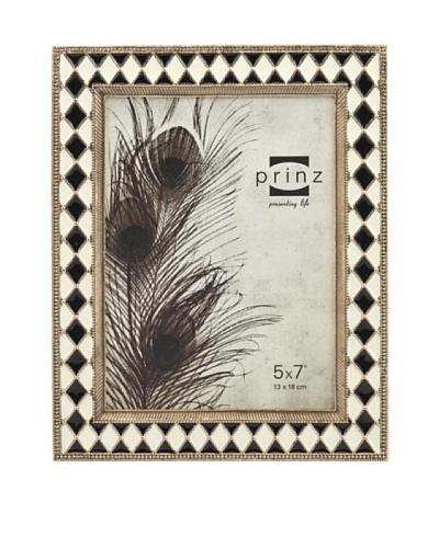 Prinz Stratford 5 x 7 Enameled Metal Photo Frame, Black/Ivory